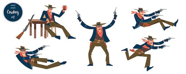 Kowboj z płaskimi ludzkimi charakterowymi osobami w różnych sytuacjach z kreskówkowymi piktogramami