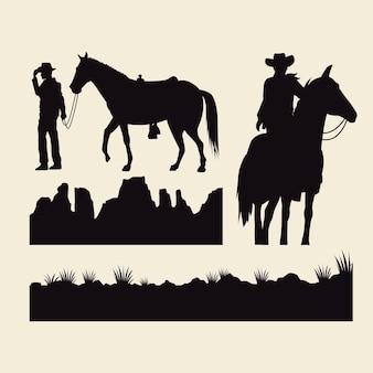 Kowboje z koniami, zwierzęta i sylwetki terenów