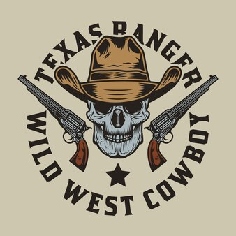 Kowbojska czaszka z pistoletami na wyciągnąć rękę