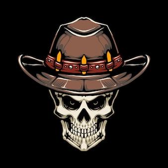 Kowbojski kapelusz czaszki projekt ilustracji