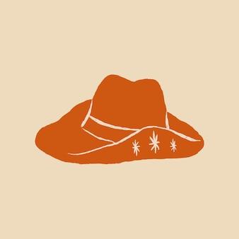 Kowbojski kapelusz logo wektor ręcznie rysowane ilustracja w kolorze pomarańczowym