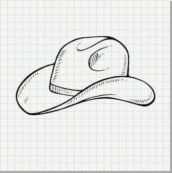 Kowbojski kapelusz - vintage grawerowane ilustracji wektorowych (styl doodle)