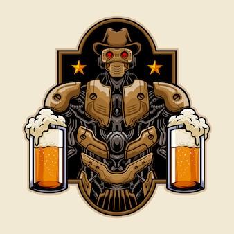 Kowbojski robot przynosi ilustrację piwa