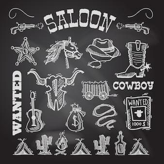 Kowbojski zestaw chalkboard