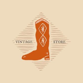 Kowbojskie buty ilustracja wektorowa logo z edytowalnym tekstem w motywie rodeo