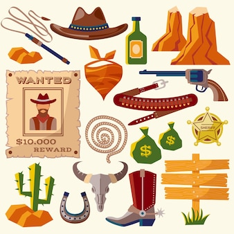 Kowbojskie ikony płaskie