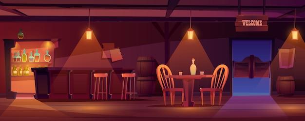 Kowbojskiego salonu westernu retro baru pusty wnętrze