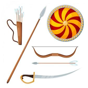 Kozackie przedmioty bojowe na białym tle
