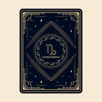 Koziorożec znaki zodiaku karty horoskop konstelacji gwiazd karta zodiaku z ozdobną ramką