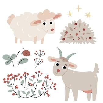 Kozy i owcerolnictwojesienna atmosferailustracja do książki dla dzieci