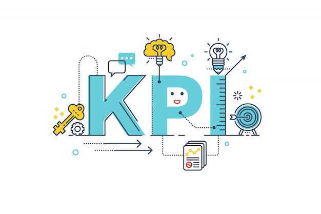Kpi: key performance indicator word napis typografia projektowanie ilustracji