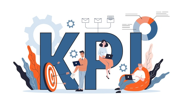 Kpi lub koncepcja kluczowych wskaźników wydajności. idea przeglądu i oceny danych. ilustracja
