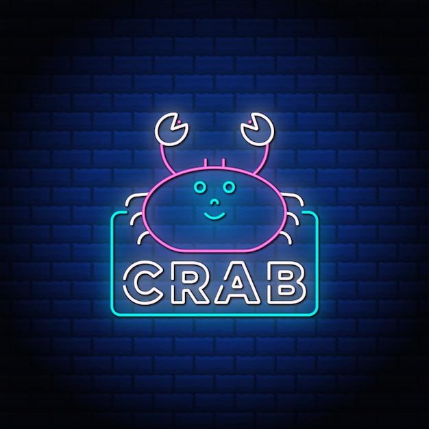 Krab neon śpiewa styl tekstu na niebieskim tle oświetlenia.