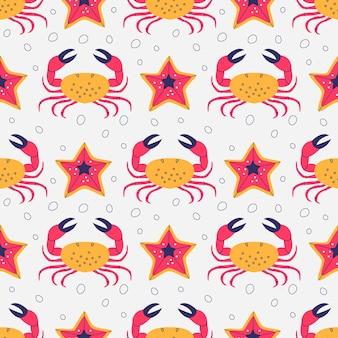 Kraby i rozgwiazdy wzór tekstury podwodnej fauny