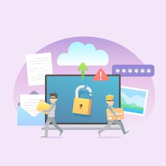 Kradzież danych ilustracja koncepcja