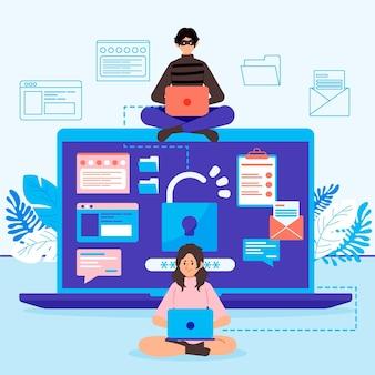 Kradzież danych ilustrowana koncepcja