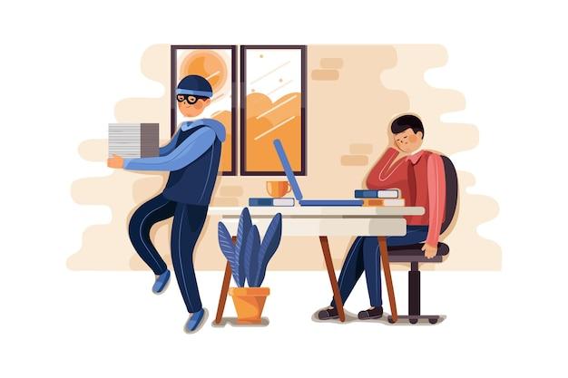 Kradzież dokumentów przestępczości ilustracji