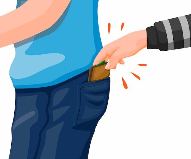 Kradzież kieszonkowa. ręka złodzieja kradnie portfel z kieszeni dżinsów ilustracja koncepcja w wektorze kreskówka na białym tle