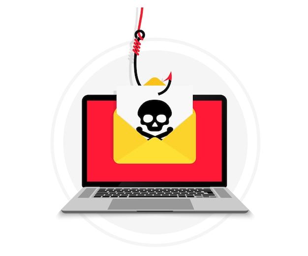Kradzież konta. laptop z kopertą e-mail w haczyk na ryby. hakowanie i kradzież tożsamości. wyłudzanie danych e-mail. dystrybucja fałszywych wiadomości e-mail, wirus rozprzestrzeniający złośliwe oprogramowanie. koncepcja hakowania. oprogramowanie szpiegujące, złośliwe oprogramowanie.
