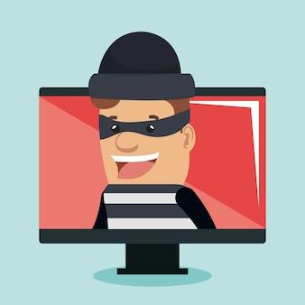 Kradzieży tożsamości avatar charakteru wektorowy ilustracyjny projekt