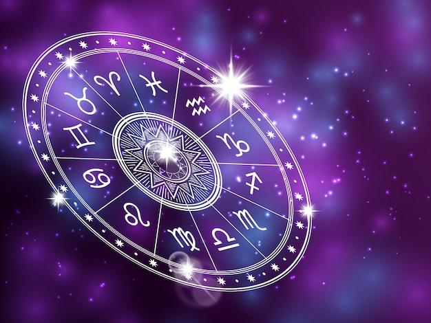 Krąg horoskopu na błyszczącym backgroung - krąg astrologii