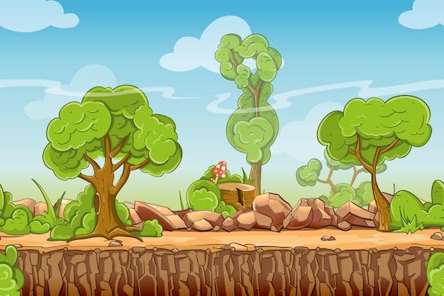Kraj bez szwu krajobraz w stylu cartoon. panorama przyrody, zielone drzewo na zewnątrz, ilustracji wektorowych