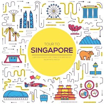 Kraj Singapur Wakacje Przewodnik Towarów Premium Wektorów