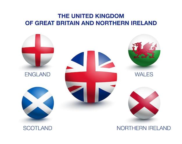 Kraj wielkiej brytanii anglia, szkocja, walia i irlandia północna. flagi w formie kuli. ilustracja wektorowa
