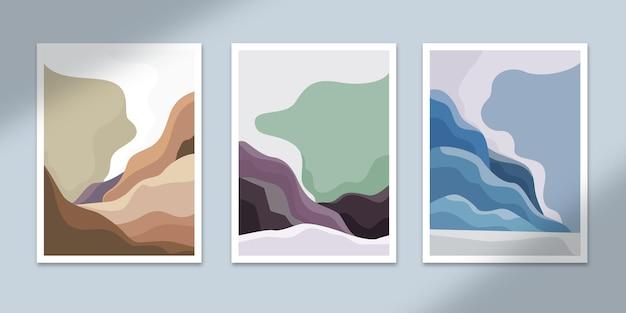 Krajobraz abstrakcyjne plakaty sztuka ręcznie rysowane kształty okładki zestaw kolekcja do dekoracji ściennej