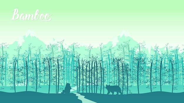 Krajobraz bambusa drzewa w tropikalnym lesie deszczowym, malezja