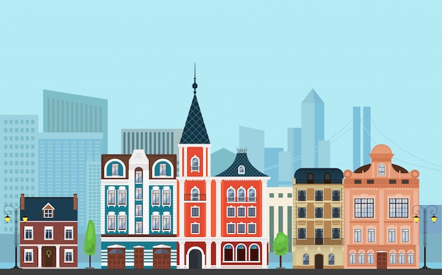Krajobraz budynków w stylu mieszanym
