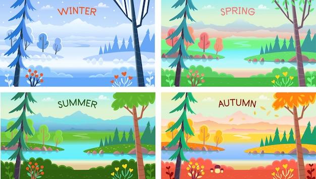 Krajobraz cztery pory roku. zima wiosna lato jesień. krajobraz leśny z drzewami, krzewami, kwiatami, drogą i jeziorem.