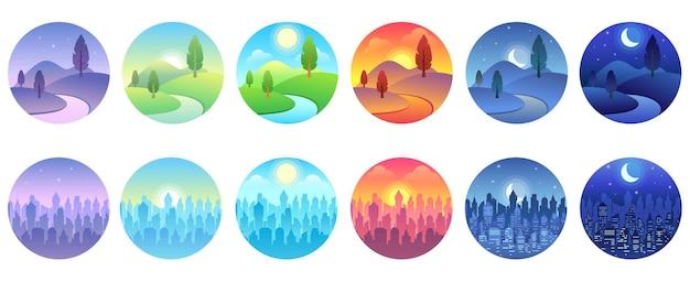 Krajobraz dnia. świt, poranne miasto, słoneczny dzień, wieczorny zachód słońca, pole zmierzchu, okrągły zestaw ikon nocnej panoramy.