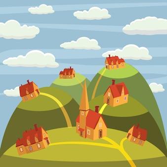 Krajobraz. domy w górach. mieszkanie w stylu kreskówki, ilustracje wektorowe