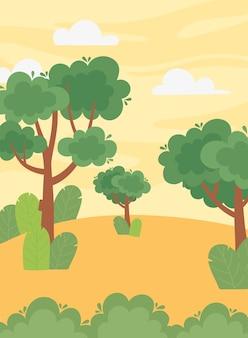 Krajobraz drzewo liści pozostawia krzew zachód słońca niebo ilustracja kreskówka