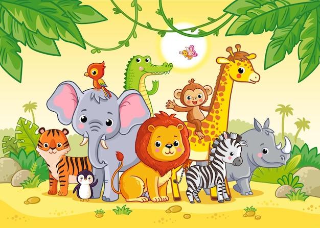 Krajobraz dżungli z uroczymi afrykańskimi zwierzętami duży zestaw zwierząt vector