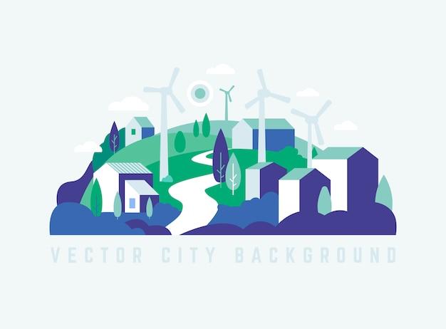 Krajobraz eco city z budynkami, wzgórzami i drzewami