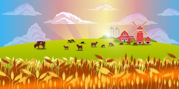 Krajobraz ekologicznej farmy mlecznej z wioską, bydłem, młynem, zielonym polem, łąką, niebem, chmurami