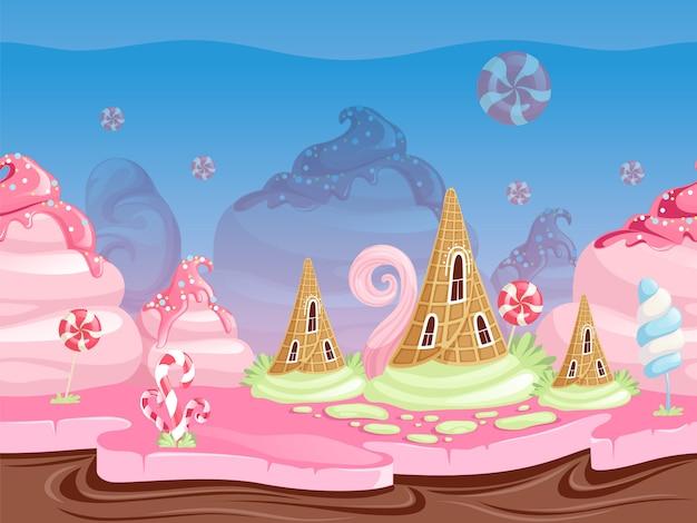 Krajobraz fantasy gry. ilustracja z pysznymi deserowymi karmelowymi cukierkami i czekoladowymi ciastkami