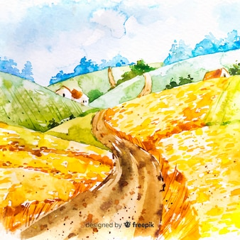Krajobraz farmy akwarela