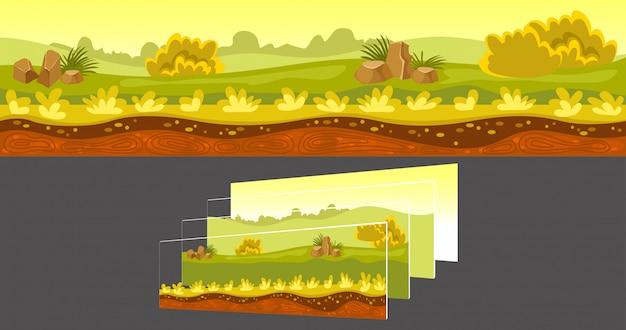 Krajobraz gier z oddzielnymi warstwami
