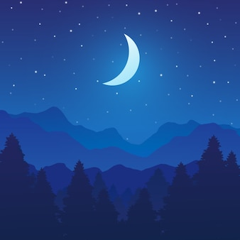 Krajobraz gór i lasów z drzewami w nocy
