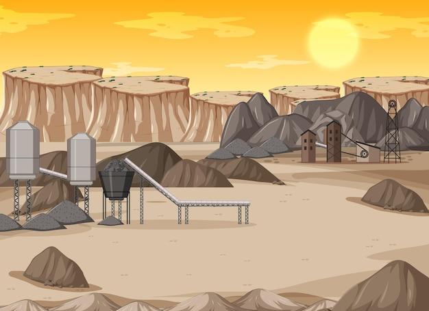Krajobraz górnictwa węgla kamiennego w ciągu dnia