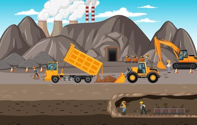 Krajobraz górnictwa węgla kamiennego z podziemną sceną