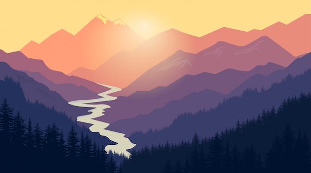 Krajobraz górski charakter grafiki campingowej, ilustracja na zewnątrz podróży