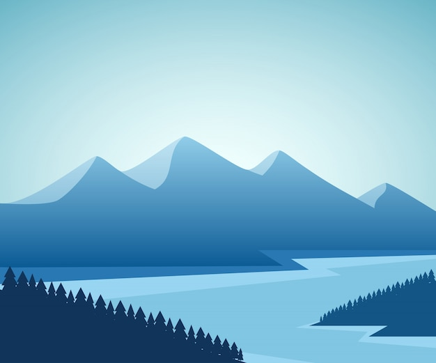 Krajobraz górski i jeziorny. projekt graficzny.