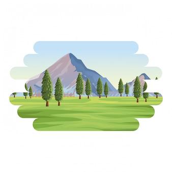 Krajobraz górski z drzewami