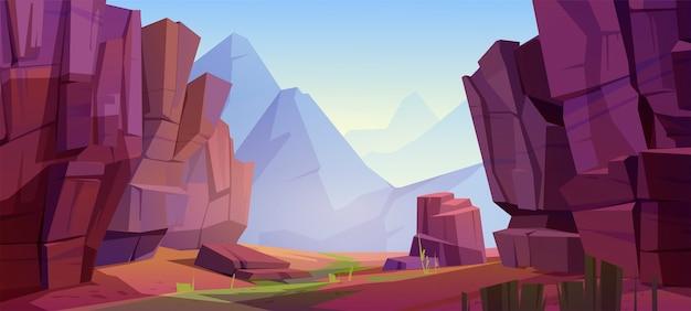 Krajobraz górski z kanionem, czerwoną suchą ziemią i zieloną trawą na starym korycie rzeki. ilustracja kreskówka parku przyrody z wąwozem, kamiennymi klifami i skałami. park narodowy wielkiego kanionu