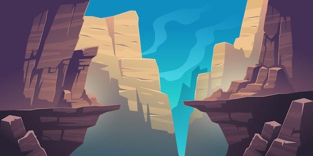 Krajobraz górski z przepaścią w skałach