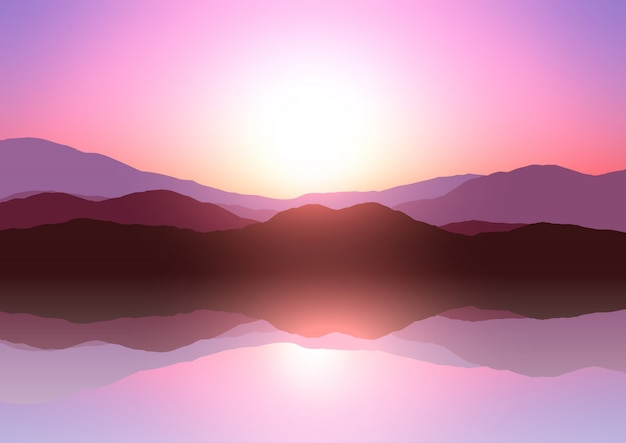 Krajobraz górski zachód słońca